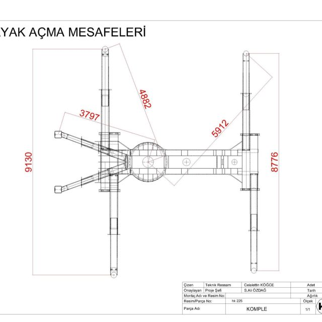 Hk 225 Ayak Acma Mesafeleri